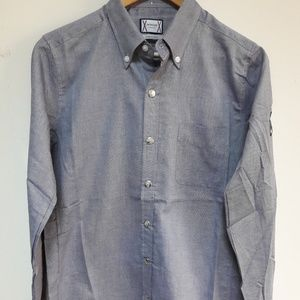 MONCLER GREY BUTTON DOWN SHIRT WITH POCKET